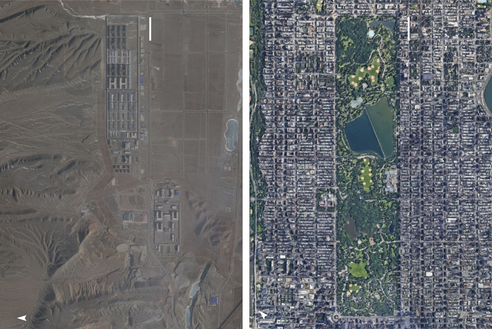 Satellite images comparing the size of Dabancheng to Central Park